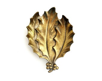 Vintage Solid Brass Holly Leaves Dish