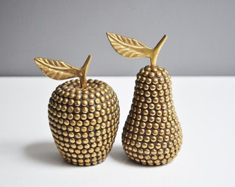 Vintage Pair of Studded Brass Paperweights - Brass Apple and Pear