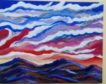 Mountain oil painting abstract landscape, original oil landscape, oil abstract mountain painting