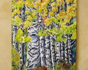 Large aspen tree painting, Original large oil painting on canvas aspen trees