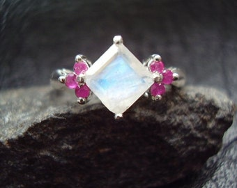 Bella - Genuine Moonstone & Ruby Ring - Square Cut Stone - Alternative Engagement Ring - Sterling Silver Ring - NonTraditional Wedding Ring