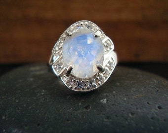 CLEARANCE! Genuine Rainbow Moonstone Faceted Oval Cut & Genuine White Sapphire Halo Statement Ring 925 Sterling Silver Ring, Statement Ring