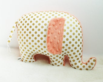 Metallic gold nursery decor, Elephant Pillow, metallic gold and peach, gold and peach