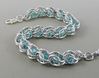 Chainmail Bracelet Chainmaille Swarovski Crystal Passions, Aquamarine Swarovski, Captured Chain Mail Bracelet, Blue Bracelet 717