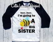 Big sister to bee pregnancy announcement t-shirt raglan baseball style BIG SISTER
