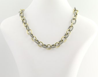 """Large Oval Link Necklace 15 1/2"""" - Sterling Silver & 18k Yellow Gold N437"""