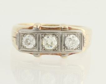 Art Deco Diamond Ring - 14k Yellow White Gold Vintage Wedding Band 3-Stone 1ctw N1412