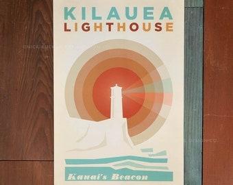Kilauea Lighthouse - 12 x 18 Retro Hawaii Travel Print