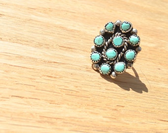 Turquoise Cluster Ring, Size 7.5, Silver, Native American, Southwest Jewelry, Ring, Santa Fe, New Mexico, Handmade