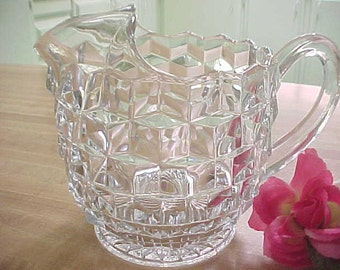 Fostoria American Ice Lip Jug, Vintage 32 Ounce Serving Pitcher, Elegant Glassware Pitcher with Ice Lip, Old Crystal Glass Server