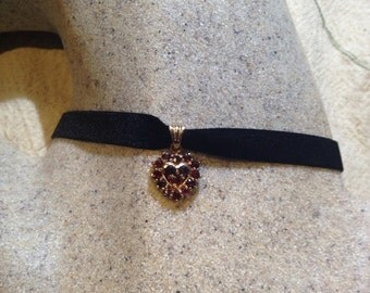 Vintage deep red Bohemian Garnet 925 Rose Gold finish Sterling Silver Heart Necklace