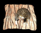 Wool Cat Mat - Hand Felted Rug/Throw Cat Bed -  Bengal