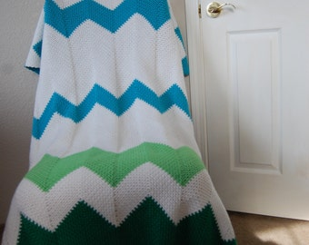 Crochet Afghan Zig ZagChevrons  in White, Greens and Blue
