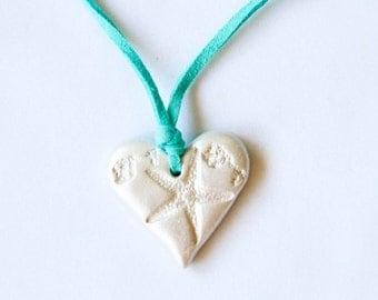 Pearly White Starfish Necklace / Aquamarine Choker Necklace / Ceramic Jewelry