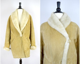 Vintage 80s J Percy for Marvin Richards tan genuine leather coat with large faux fur shawl collar