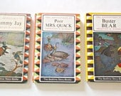 3 Thornton Burgess Childrens Books  The Adventures of Buster Bear The Adventures of Sammy Jay The Adventures of Poor Mrs. Quack  1960's
