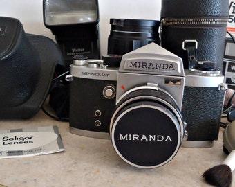 Vintage Miranda Sensomat Camera with Leather Case , Accessories & Soligor Auto Tele Converter 135