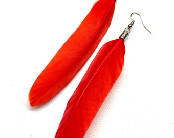 Homemade Red or Black Single Feather Earrings