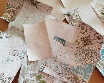 Huge box lot vintage antique wallpaper 40s-60s make a patchwork wall cover books boxes