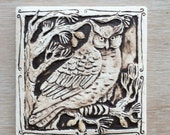 Owl in pine tree 4x4 inch handmade carved and painted porcelain tile for wall hanging or garden