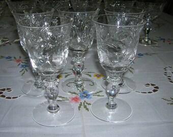 5 Vintage Cut Crystal Signed Hawkes Sherry Wine Glasses Stem 7375 Madeira Pattern Cut Flowers VHTF