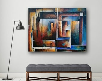 Original Abstract Painting, Huge Painting, Blue Painting on Canvas, Contemporary Wall Art, Multiple Canvas, 48x36 By Heather Day