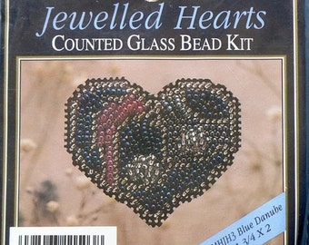 20%OFF Mill Hill Beads Counted Glass Bead Kit BLUE DANUBE Jewelled Hearts