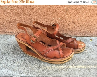 SALE 1970s leather wood wedge heels cutout platform honey ankle straps RARE // US Size 9.5 10