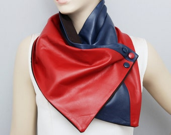 Genuine  leather scarf with snaps and  lining ,man  NECKWARMER  with snaps , men scarf ,Red blue