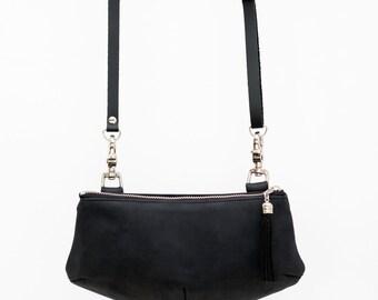 Black leather bag/mat black multifunctionnal little bag /travel pouch / leather clutch / mini purse / banana bag /black waist bag / handmade