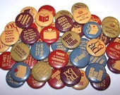 """Books Reading Set of 10 Buttons 1"""" or 1.5"""" Pin Back Buttons or 1"""" Magnets Back to School"""