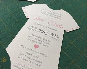 Baby Naming Die Cut Onesie Invitation
