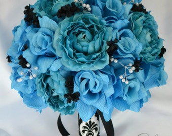 "17 Piece Package Wedding Bridal Bouquet Silk Flowers Bouquets Teal Damask Faux Pearl Spray TURQUOISE MALIBU BLACK ""Lily of Angeles"" TUBK02"