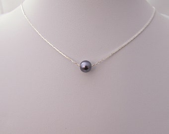 Pearl Floating Necklace, Purple Pearl Necklace, British Seller UK, February Necklace, Gifts for Girls, Bridesmaid Gifts, Bridesmaid Necklace