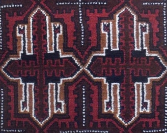 "RESERVED CATE 2'7""x4'10""  Hand Knotted Tribal, Balouchi  Rug  from Afghanistan,  Repeating Protective Amulet Medallion , All Wool"