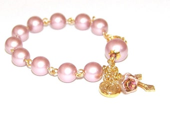 Rose Swarovski® Pearls Rosary Bracelet, Divine Mercy & Our Lady of Guadalupe Medal