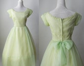 Vintage 1950s Light Green Chiffon Party Dress, Prom, Wedding