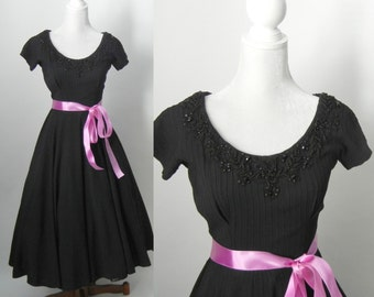 Vintage 1950s Black Swing Dress
