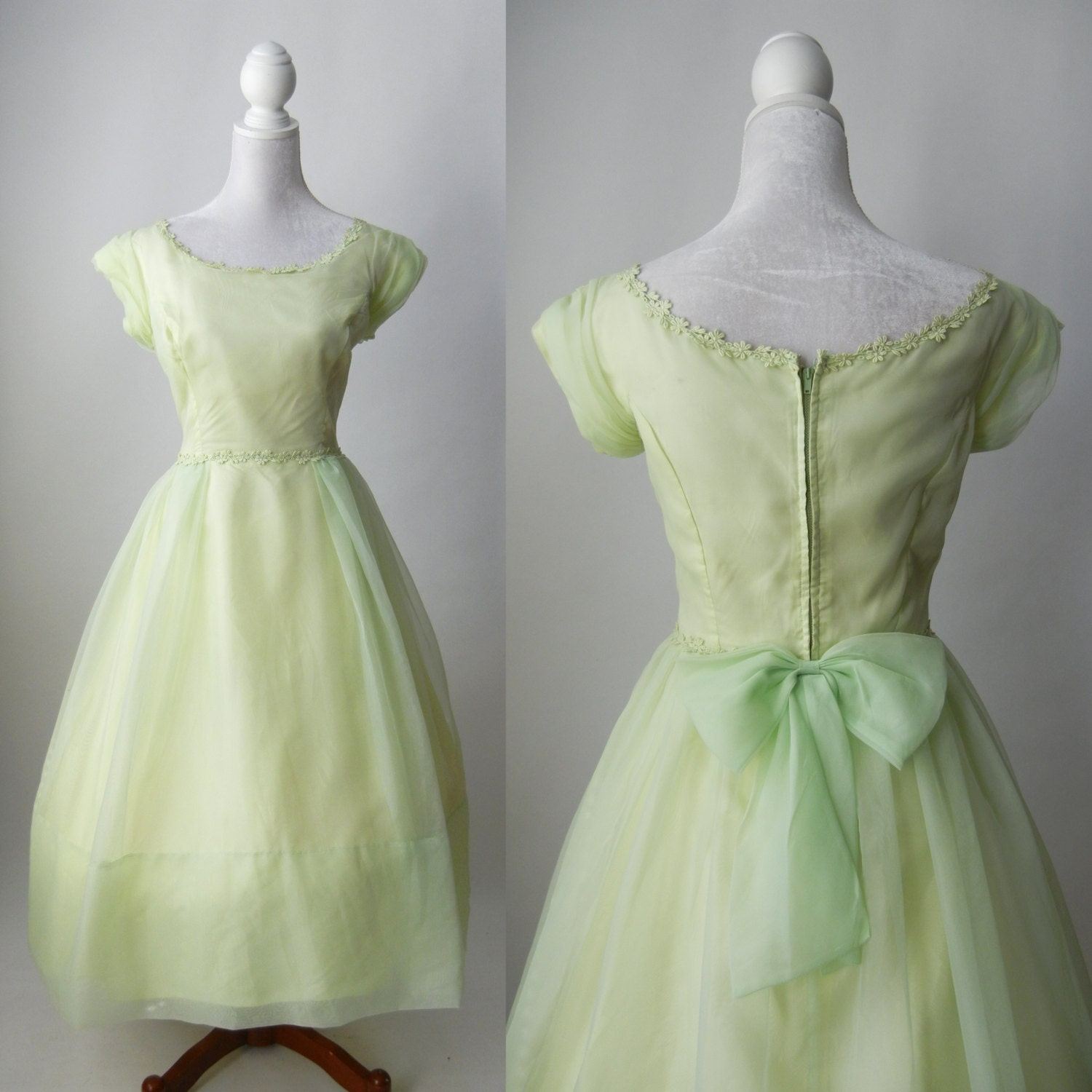 Vintage 1950s Light Green Chiffon Party Dress Prom Wedding