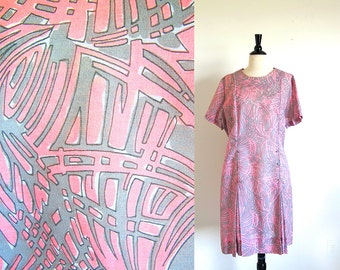 Vintage 60s Pink Plus Dress, 1960 Metal Zipper Dress, Plus Size, Union Made, Pink Dress, Made in the USA
