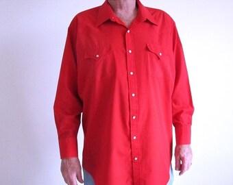 Valentine 1/2 Off Sale Red Cowboy Shirt, Vintage Men's Western Shirt, Size Tall Ranch Shirt, Pearl Snap Shirt