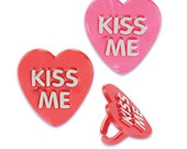 Kiss Me Cupcake Topper Rings, 12 Cupcake Toppers, Valentine's Rings, Party Favors, Plastic Charms, Love, Trinkets