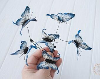 Blue Butterflies Hair Pins Set Wholesale Hairpins Accessory Decoration Butterflies Hair Piece Headpiece Bridal Wedding Hair Dress