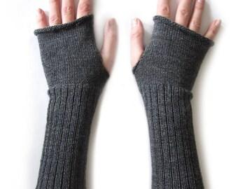 Long Fingerless Gloves, Thumbhole Arm Warmers