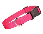 Deluxe Pink Nylon Collar - Nylon Dog Collar - Pink Pet Collar - Adjustable Dog Collar - Nylon Hot Pink Dog Collar