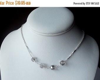 25% Off SALE thru Mon Smoky Gray Crystal Necklace, Christmas Gift, Silver, Mom Sister Grandmother Jewelry ,Bridal Wedding