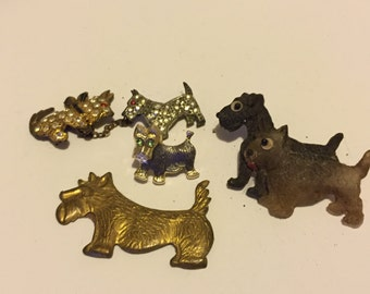 Scotty Dog Terrier Dog Puppy Canine Brooches Vintage lot 83