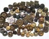 Vintage Metal Buttons: 70 Gold, Bronze, Brass Buttons, Vintage Metallic Buttons