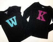 Tween, girl, toddler, baby SHIRT with pink blue or gold sequin glitter personalized number / initial applique NB - adult, fun birthday gift