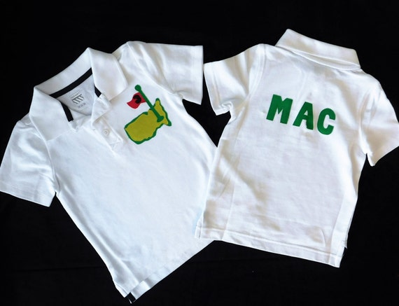 Front and back boy toddler white polo golf shirt masters for Personalized polo shirts for toddlers